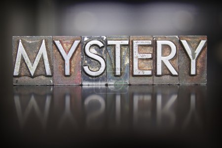 The word MYSTERY written in vintage lead letterpre...