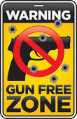 Gun Free Zone Sign with Bullet Holes