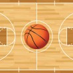 A realistic vector hardwood textured basketball co...