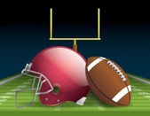 Illustration of an american football helmet ball and field Vector EPS 10 file available EPS file contains transparencies and gradient mesh