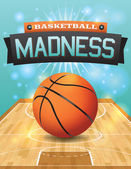 A vector illustration of a basketball on a hardwood court Illustration is perfect for college basketball tournament basketball playoffs flyers posters and more Vector EPS 10 available EPS file contains transparencies and gradient mesh EPS is