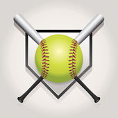 Softball Bat and Homeplate Emblem Illustration