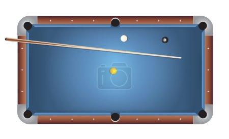 Realistic Billiards Pool Table Blue Felt Illustration