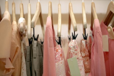 Profile view of pink clothes hanging on wooden hangers in a fashion store.