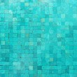 Over head view of a blue swimming pool with mosaic...