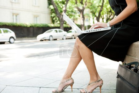 Low body section of a businesswoman using a laptop computer