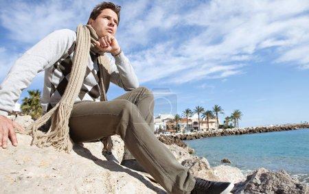 Smart man on a beach