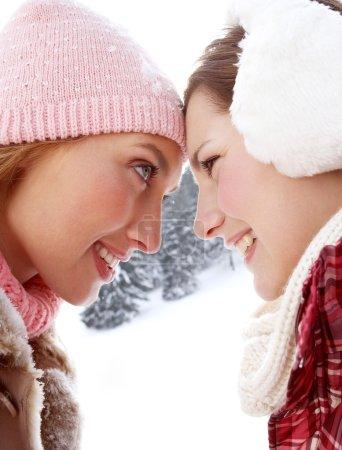 Girls enjoying winter day