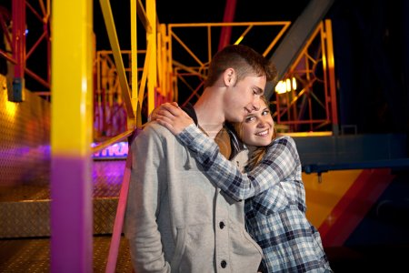 Couple visiting attractions park