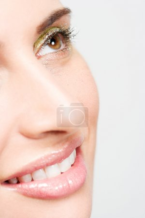 Woman wearing colorful eyeshadow