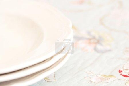 Three mains empty plates