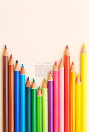 Bunch of colorful school art pencils