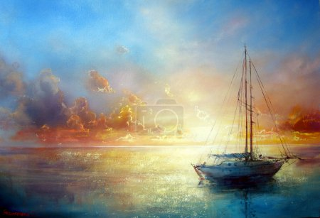 Photo for Seascape painting by Yakymenko Sergiy. Marine painting - Royalty Free Image
