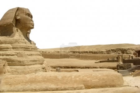 Symbol Egypt's - Sphinx with summer blue sky and clouds in Giza