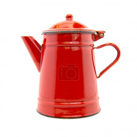 Red kettle isolated on white