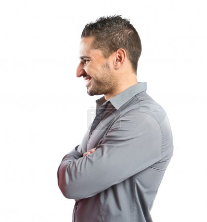 Photo for Handsome man with arms crossed over isolated background - Royalty Free Image
