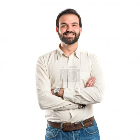 Photo for Man with his arms crossed over isolated background - Royalty Free Image