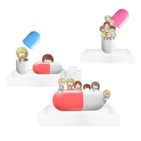 Illustration for Kids with pill on white shelves. Vector design. - Royalty Free Image