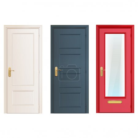 Collection doors isolated on white. Vector design.