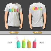 Colorful can printed om white shirt Vector illustration