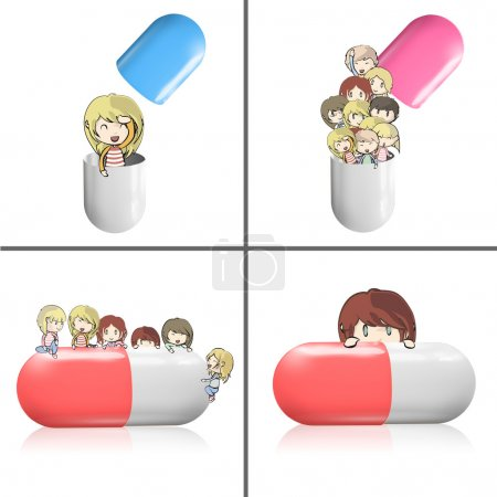Collection of kids around pill. Vector design.