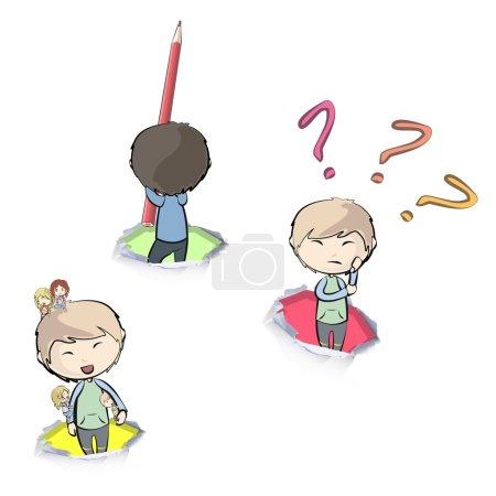 Illustration pour Collection d'enfants mignons en papier trou. Conception vectorielle . - image libre de droit