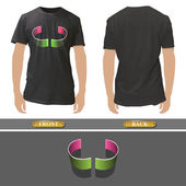 Abstract curve design inside a realistic black shirt. Vector illustration.