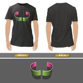 Abstraktní křivky design uvnitř realistický černou košili. vektorové ilustrace