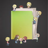 Many children around a folder Vector design