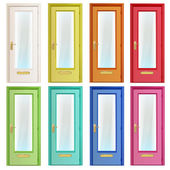 Collection of colorful doors with glass Vector design