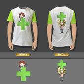 Shirt-Design mit Cartoon Mädchen hält ein grünes Kreuz. Realistische Vektor-illustration