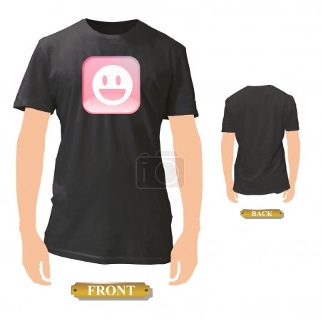 Beautiful pink icon with happy face printed on black shirt