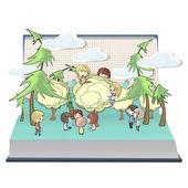 Děti drží strom na knihu. Vektorová design