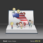 Kids holding american speech bubble on white isolated background Vector design