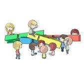 Skupina dětí kolem clothespins. Vektorová design