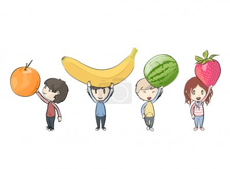 Kids holding fruits. Vector design