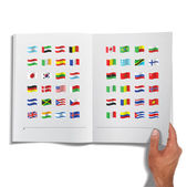 Collection of flags printed on book Vector design