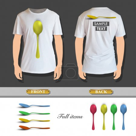 Illustration for Collection of colorful spoons printed on white shirt. Vector design. - Royalty Free Image
