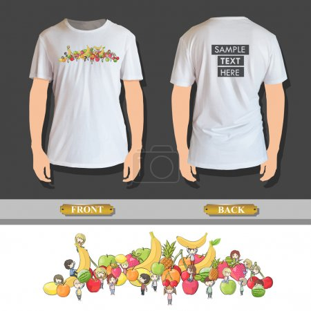 kids around several fruits printed on shirt. Vector design