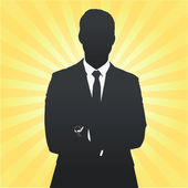 Silhouette of business man with his arms crossed Vector design