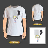 Girl holding a cd printed on t-shirt Vector design