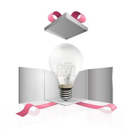 Realistic bulb inside gift box. Vector design.