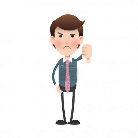 Unhappy businessman with his thumb down over isolated background. Vector design.