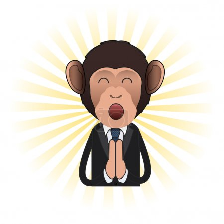 Illustration for Business monkey zen over isolated background. Vector design - Royalty Free Image