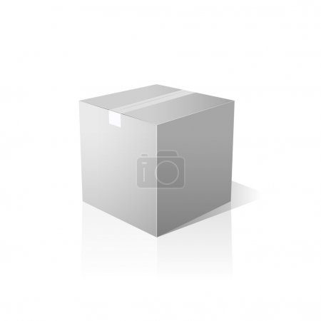 Isolated closed white box. Vector design.