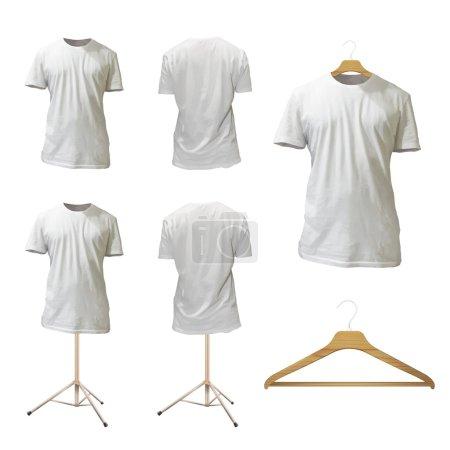 Set of empty white shirt design. Realistic vector illustration.
