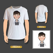 Businessman pleading printed on white shirt Vector design