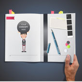 business people with icon web printed on book