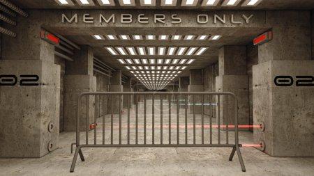 Photo pour Zone sombre réglementé avec lettrage membres seulement - image libre de droit