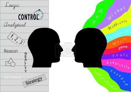 Photo pour Deux silhouettes homme avec activité cérébrale - image libre de droit
